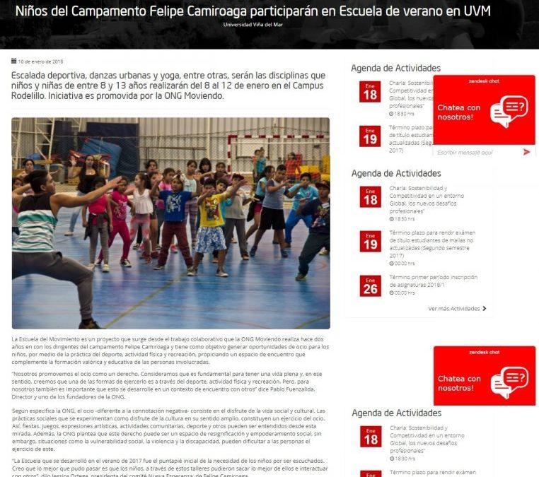 Escuela del Movimiento Verano 2018 en Web UVM